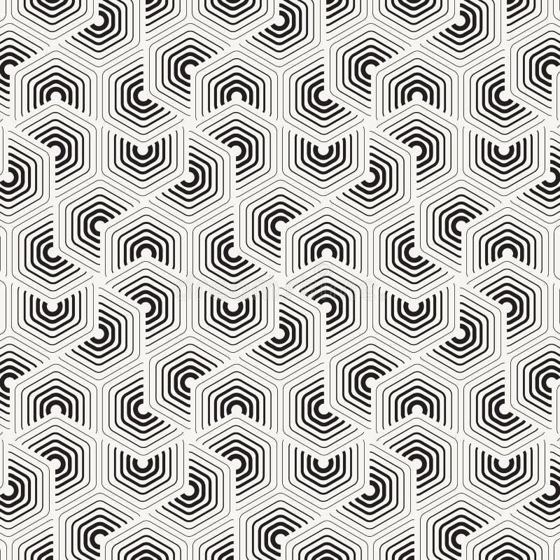 Geometrisch vectorpatroon, herhalend dunne en dikke lijn die in chevronvorm op hexagon vorm omcirkelen stock illustratie
