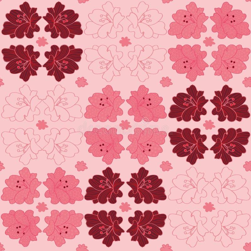 Geometrisch vectorpatroon met leliesbloemen op roze stock illustratie