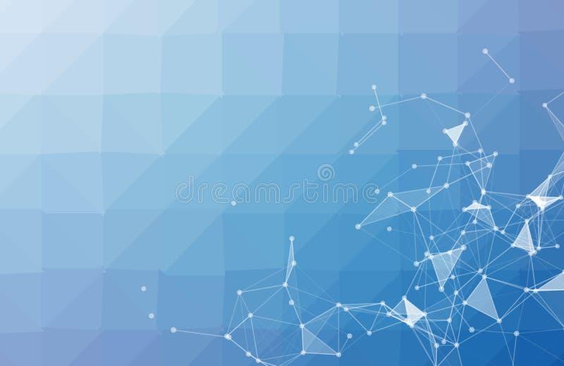 Geometrisch, Veelhoek, Lijn, de vorm van het Driehoekspatroon met moleculestructuur Veelhoekig met blauwe purpere, gele achtergro stock illustratie