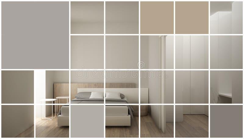 Geometrisch vierkant moza?ek grafisch effect met exemplaarruimte voor tekst, presentatiemalplaatje, modelidee, moderne slaapkamer royalty-vrije illustratie