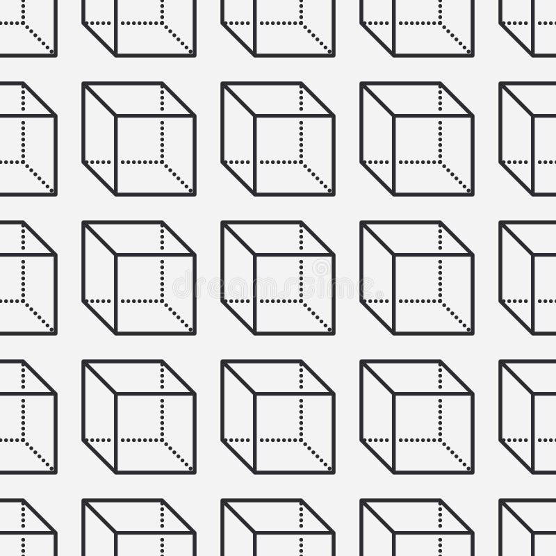 Geometrisch vormen naadloos patroon met vlakke lijnpictogrammen van kubuscijfer Moderne abstracte achtergrond voor meetkunde, wis stock illustratie