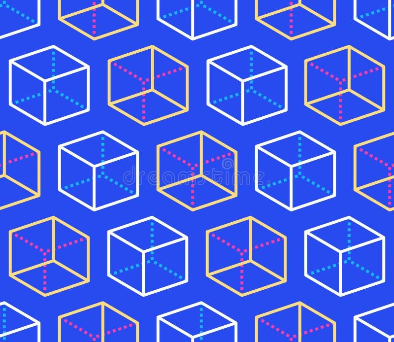 Geometrisch vormen naadloos patroon met vlakke lijnpictogrammen van kubuscijfer Moderne abstracte kleurrijke achtergrond voor mee vector illustratie