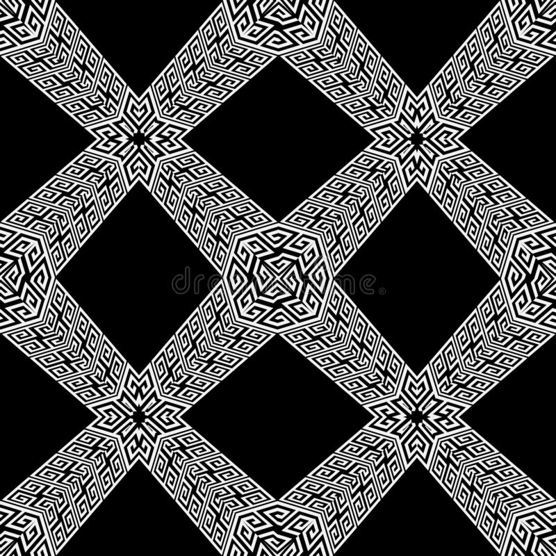Geometrisch zwart wit 3d Grieks vector naadloos patroon Monochro royalty-vrije illustratie