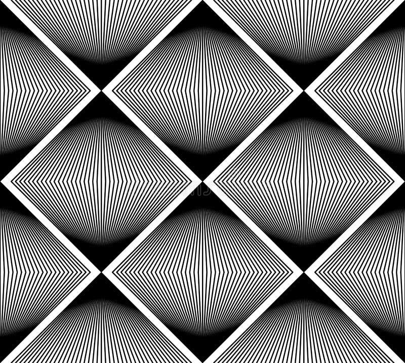 Geometrisch zwart-wit gestreept naadloos patroon, zwart-witte ve stock illustratie