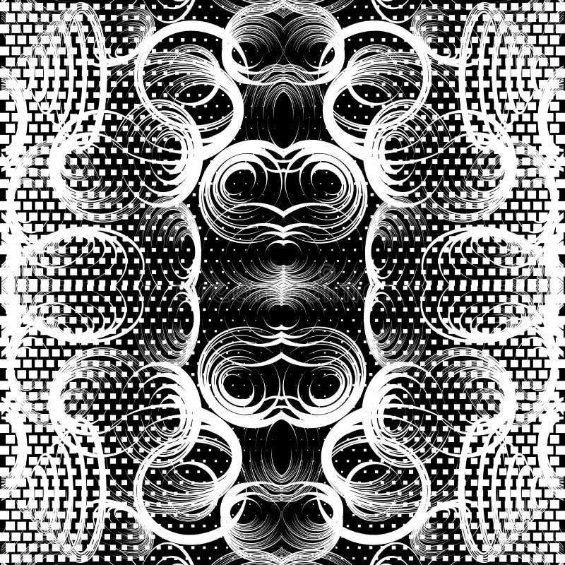 Geometrisch zwart-wit mooi naadloos patroon Abstract w stock illustratie