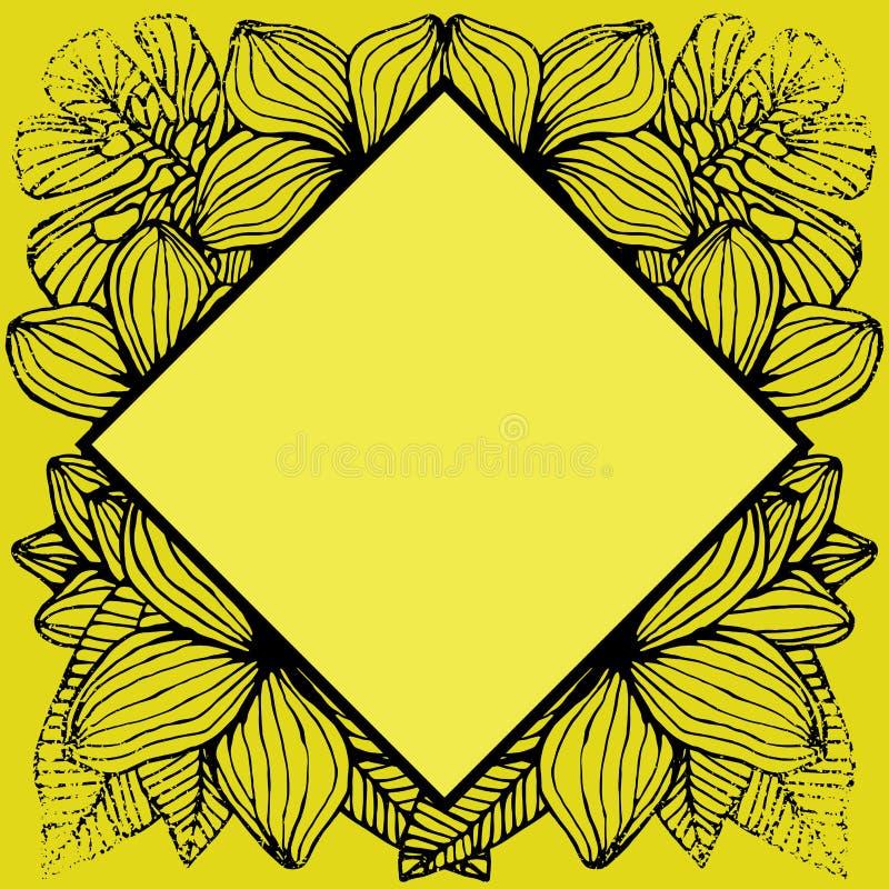 Geometrisch zwart-wit tropisch kader, natuurlijk exemplaar ruimte zwart geel zonnig ontwerp royalty-vrije illustratie