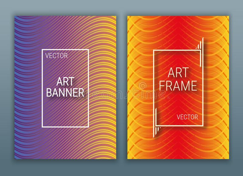 Geometrische Abdeckungen entwerfen Plakat mit einem Rahmen Bunter Hintergrund mit Steigungen Purpurrote, rote und orange Farbe vektor abbildung