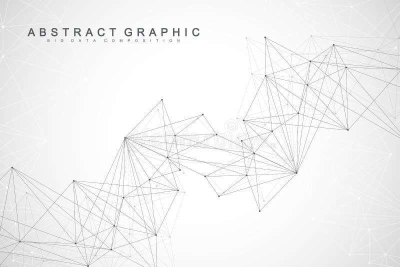 Geometrische abstracte achtergrond met verbonden lijn en punten Grafische achtergrond voor uw ontwerp Vector illustratie royalty-vrije illustratie