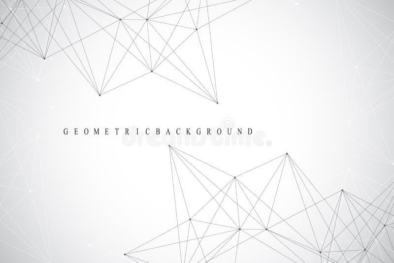 Geometrische abstracte achtergrond met verbonden lijn en punten Netwerk en verbindingsachtergrond voor uw presentatie Grafische p vector illustratie