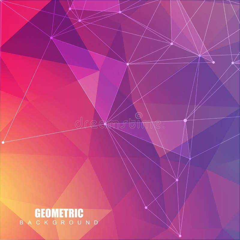 Geometrische abstracte achtergrond met verbonden lijn en punten Structuurmolecule en mededeling Wetenschappelijk concept voor stock illustratie