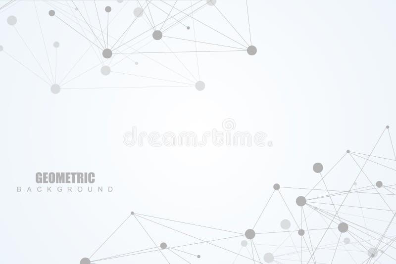 Geometrische abstracte achtergrond met verbonden lijn en punten Structuurmolecule en mededeling Grote gegevensvisualisatie royalty-vrije illustratie