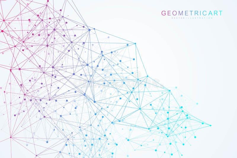 Geometrische abstracte achtergrond met verbonden lijn en punten Structuurmolecule en mededeling Grote gegevensvisualisatie stock illustratie