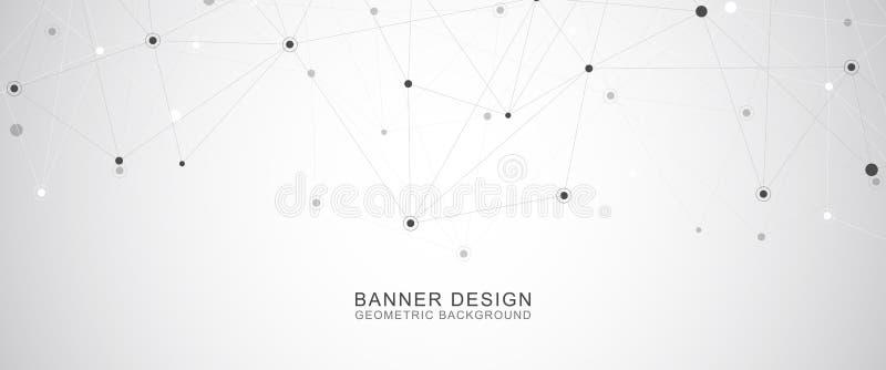 Geometrische abstracte achtergrond met verbonden punten en lijnen Moleculair structuur en communicatie concept Digitaal stock illustratie