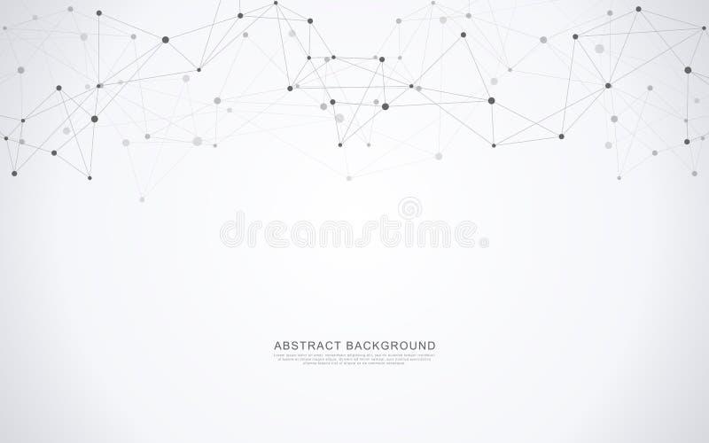 Geometrische abstracte achtergrond met verbonden punten en lijnen Moleculair structuur en communicatie concept Digitale Technolog vector illustratie