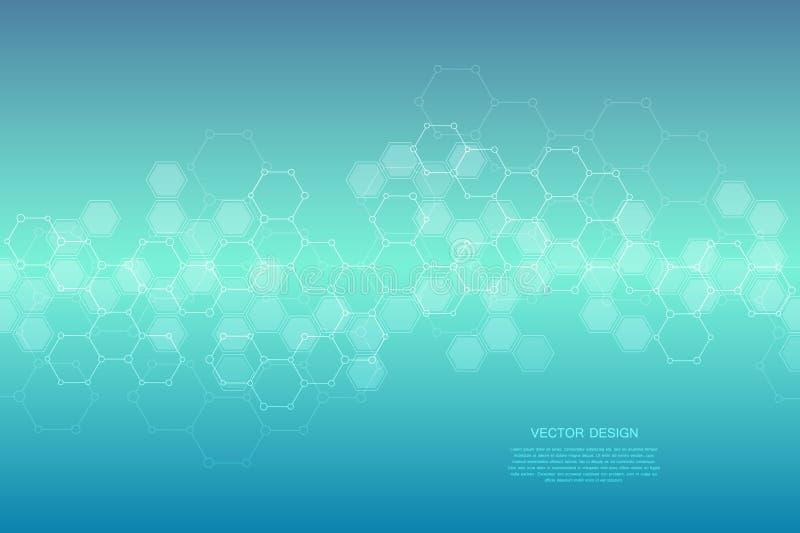 Geometrische abstracte achtergrond met zeshoeken Structuurmolecule en mededeling Wetenschap, technologie en medisch royalty-vrije illustratie
