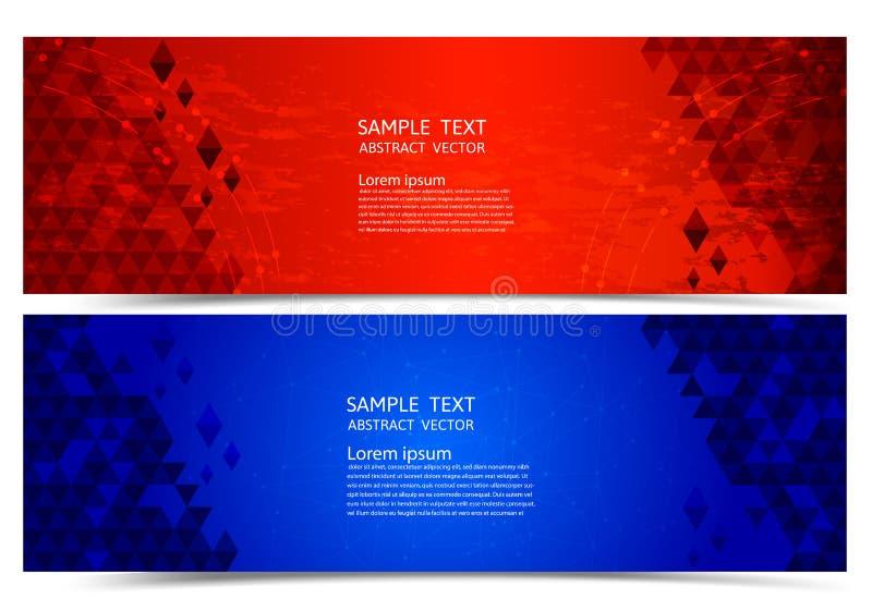 Geometrische abstracte achtergrond van de banner de rode en blauwe kleur, Vectorillustratie voor uw zaken stock illustratie