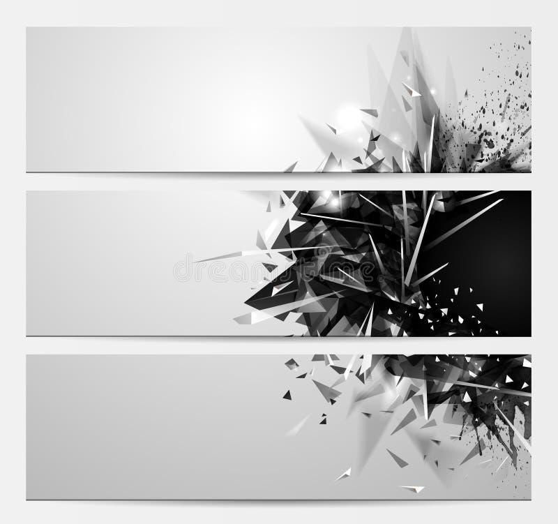 Geometrische abstracte achtergronden met zwarte kleuren futuristische elementen Reeks van drie expressieve banners voor creatief  vector illustratie