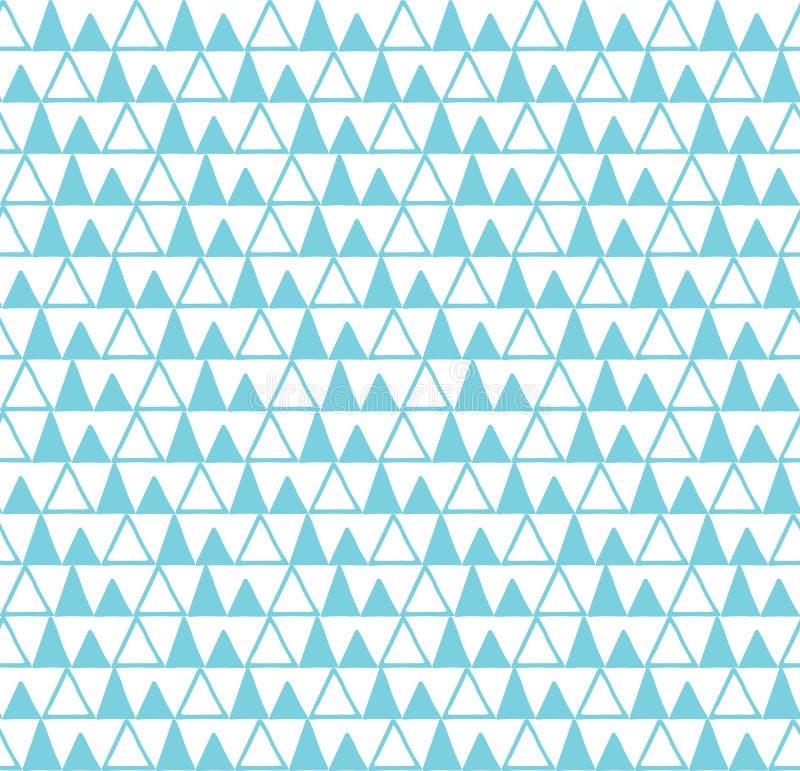 Geometrische abstracte blauwe en witte naadloze hand getrokken textuurontwerpen voor achtergronden stock illustratie