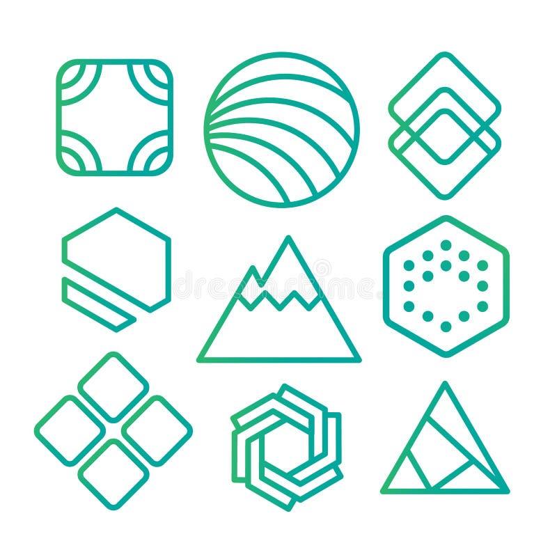 Geometrische abstracte contourvormen, met verschillende combinaties lijnen binnen de vorm royalty-vrije illustratie