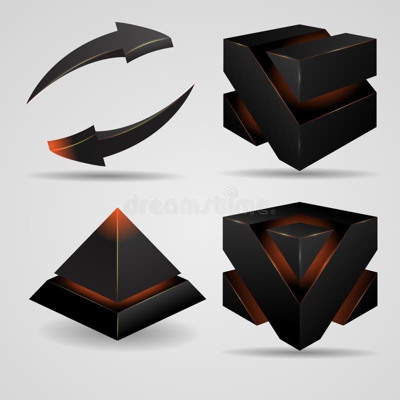 Geometrische abstracte futuristische sombere gotisch stock illustratie