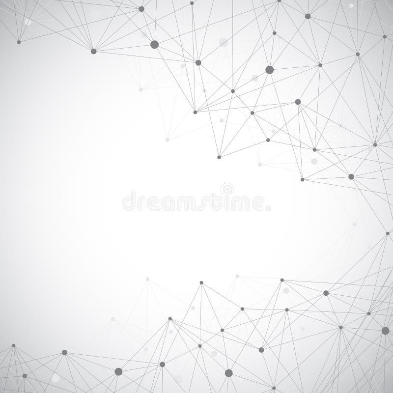 Geometrische abstracte grijze illustratie met verbonden lijnen en punten Geneeskunde, wetenschap, technologieachtergrond voor uw royalty-vrije stock foto's