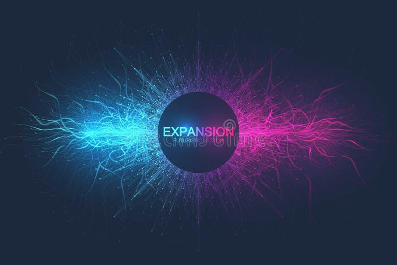 Geometrische abstracte uitbreiding als achtergrond van het leven Kleurrijke explosieachtergrond met verbonden lijn en punten, gol stock illustratie