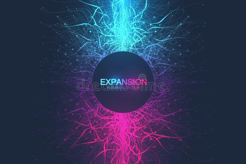 Geometrische abstracte uitbreiding als achtergrond van het leven Kleurrijke explosieachtergrond met verbonden lijn en punten, gol vector illustratie