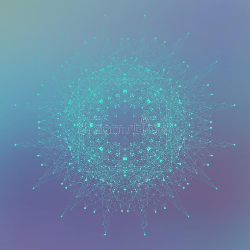 Geometrische abstracte vorm met verbonden lijn en punten Grafische achtergrond voor uw ontwerp, illustratie royalty-vrije illustratie