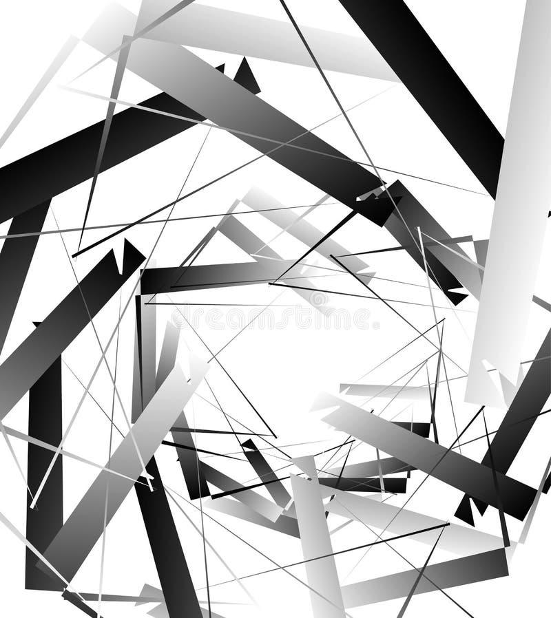 Geometrische abstrakte Kunst Nervöse, eckige raue Beschaffenheit Monochrom, lizenzfreie abbildung