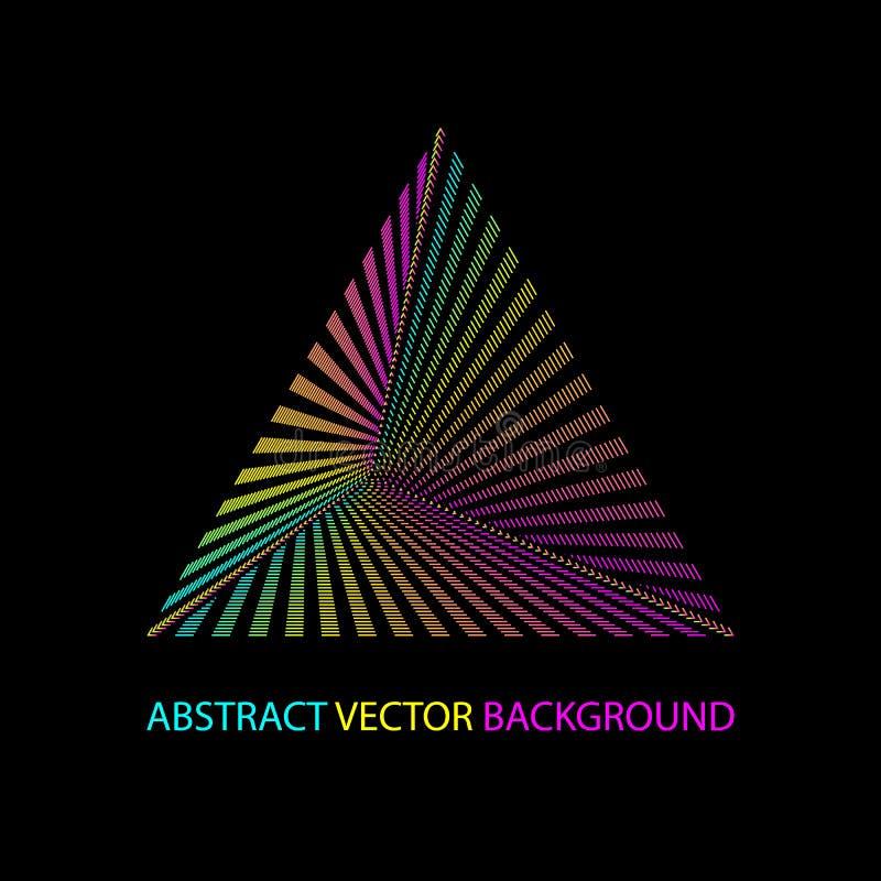 Geometrische achtergrond met gekleurde driehoek en ruimte voor het van letters voorzien, driehoekig embleem op donkere achtergron royalty-vrije illustratie