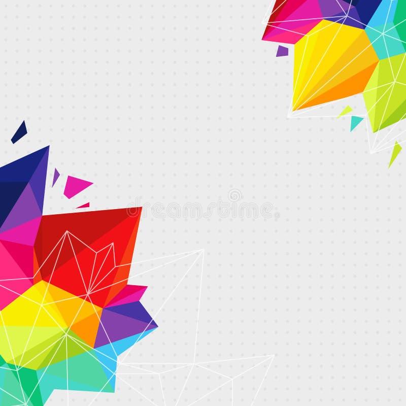 Geometrische achtergrond met heldere driehoekselementen en plaats voor royalty-vrije illustratie