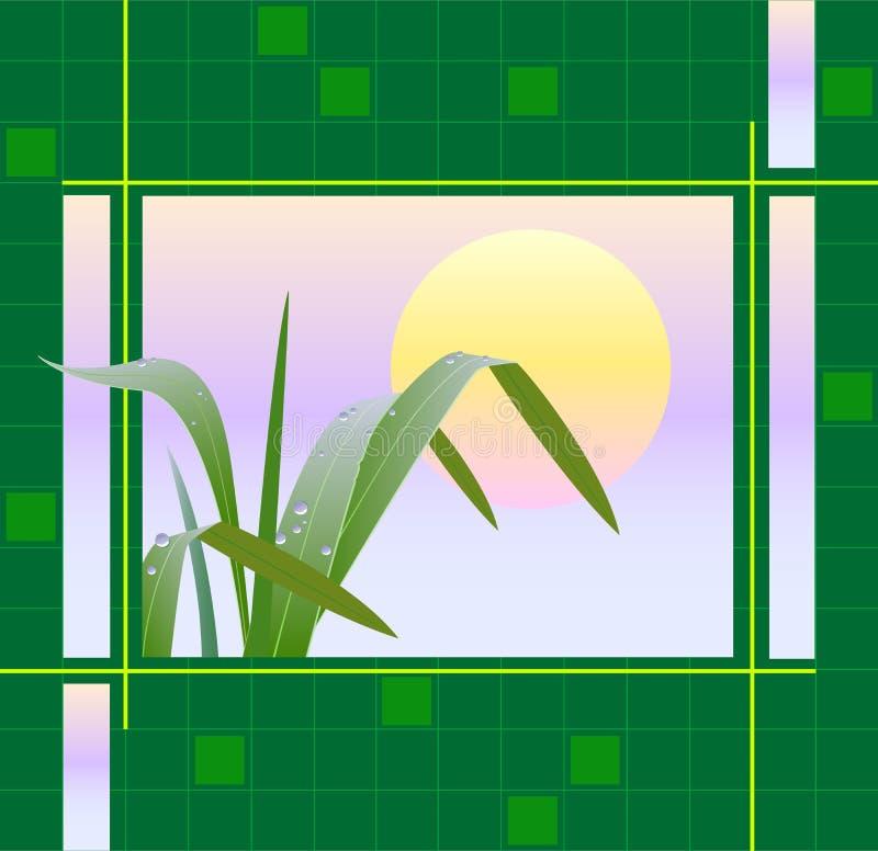 Geometrische achtergrond met het beeld van het gras bij zonsopgang stock illustratie
