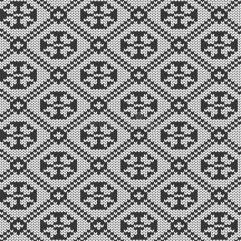 Geometrische achtergrond Naadloze decoratieve achtergrond Gebreid patroon voor sweater, sokken Jacquardweefsel behang vector illustratie