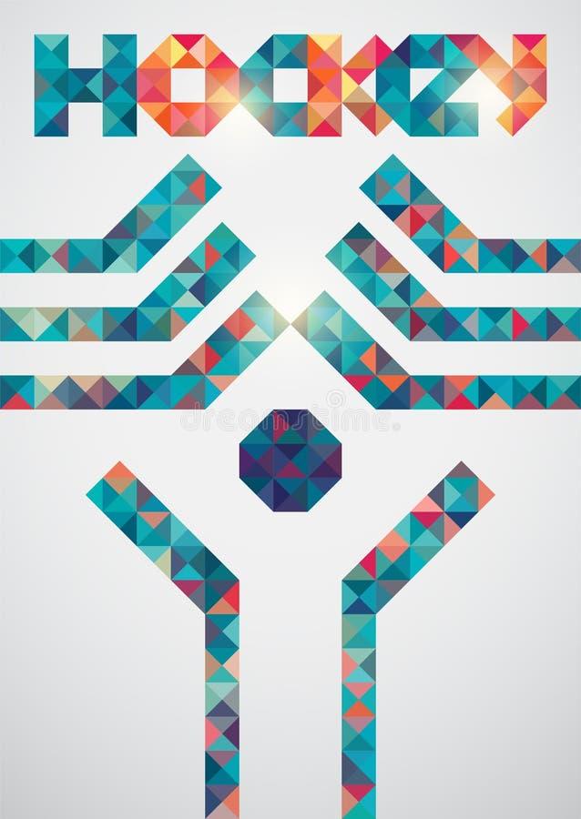 Geometrische affiche van de ijshockey de kleurrijke driehoek Vector illustratie EPS10 vector illustratie
