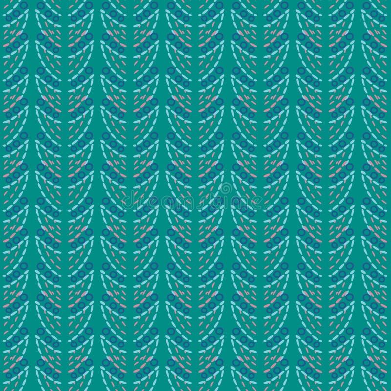 Geometrische aqua, koraal, blauwe en turkooise illustratie van kantbladeren en oogjes stock illustratie