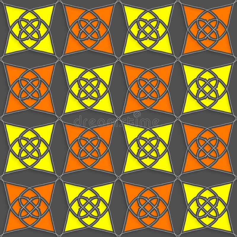 Geometrische arabische Verzierung mit dünnem Drahtgelb und -orange lizenzfreie abbildung