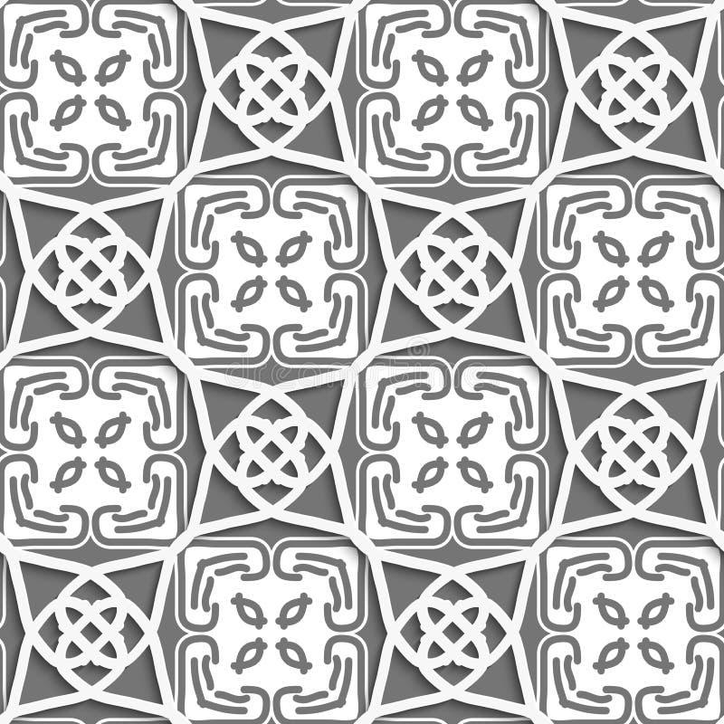 Geometrische arabische Verzierung mit Grauem und weißem vektor abbildung