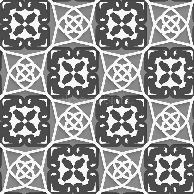 Geometrische arabische Verzierung mit weißem Dunklem und hellgrau vektor abbildung