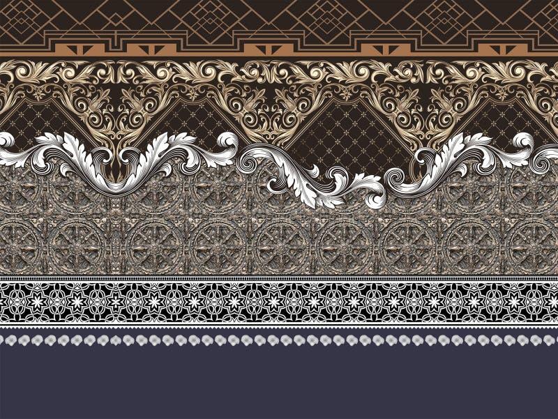 Geometrische barokke gouden patroongrens vector illustratie