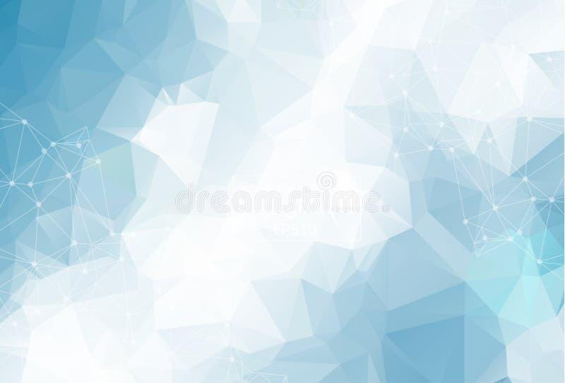 Geometrische Blauwe lichte Veelhoekige molecule en mededeling als achtergrond Verbonden lijnen met punten Minimalismachtergrond C vector illustratie