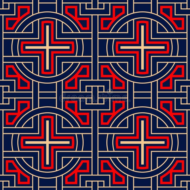 Geometrische blauwe naadloze achtergrond Gekleurd rood en beige patroon stock illustratie