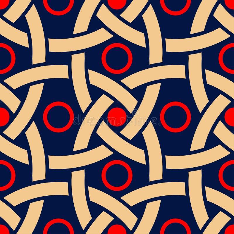 Geometrische blauwe naadloze achtergrond Gekleurd rood en beige patroon royalty-vrije illustratie