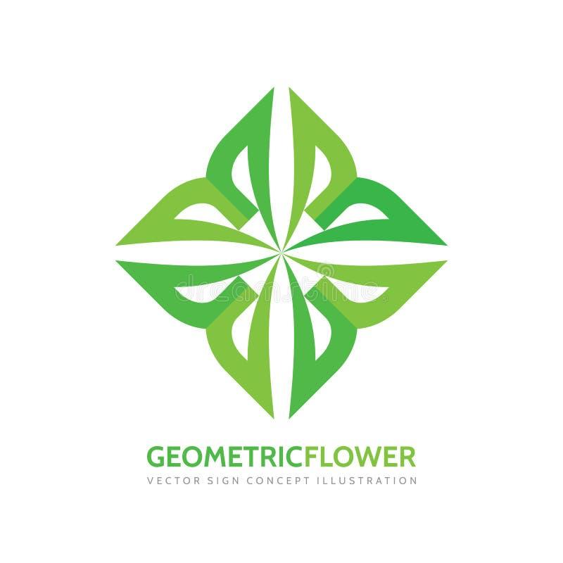 Geometrische bloem - vector het conceptenillustratie van het embleemmalplaatje Groen bladeren creatief teken Biologisch productsy stock illustratie