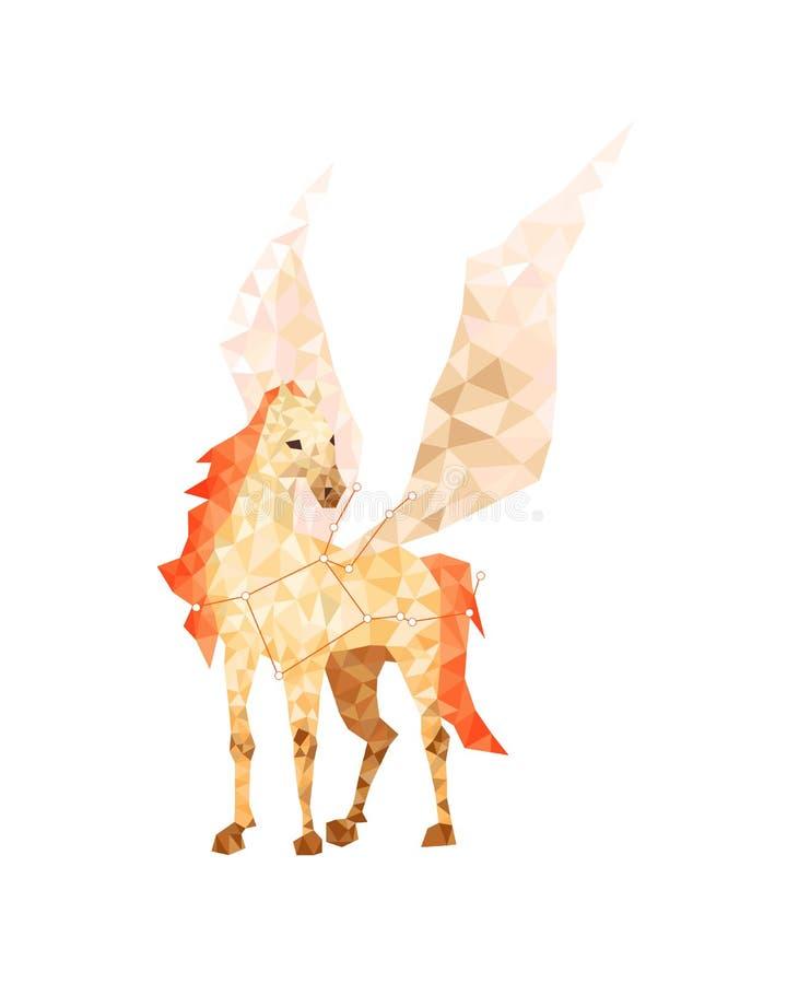 Geometrische bunte Zahl Kunst von gelbem Pegasus in der niedrig-Polyart lizenzfreie abbildung
