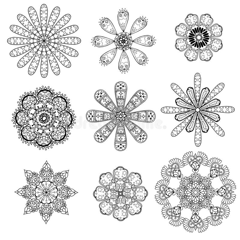 Geometrische cirkelornamentreeks stock illustratie