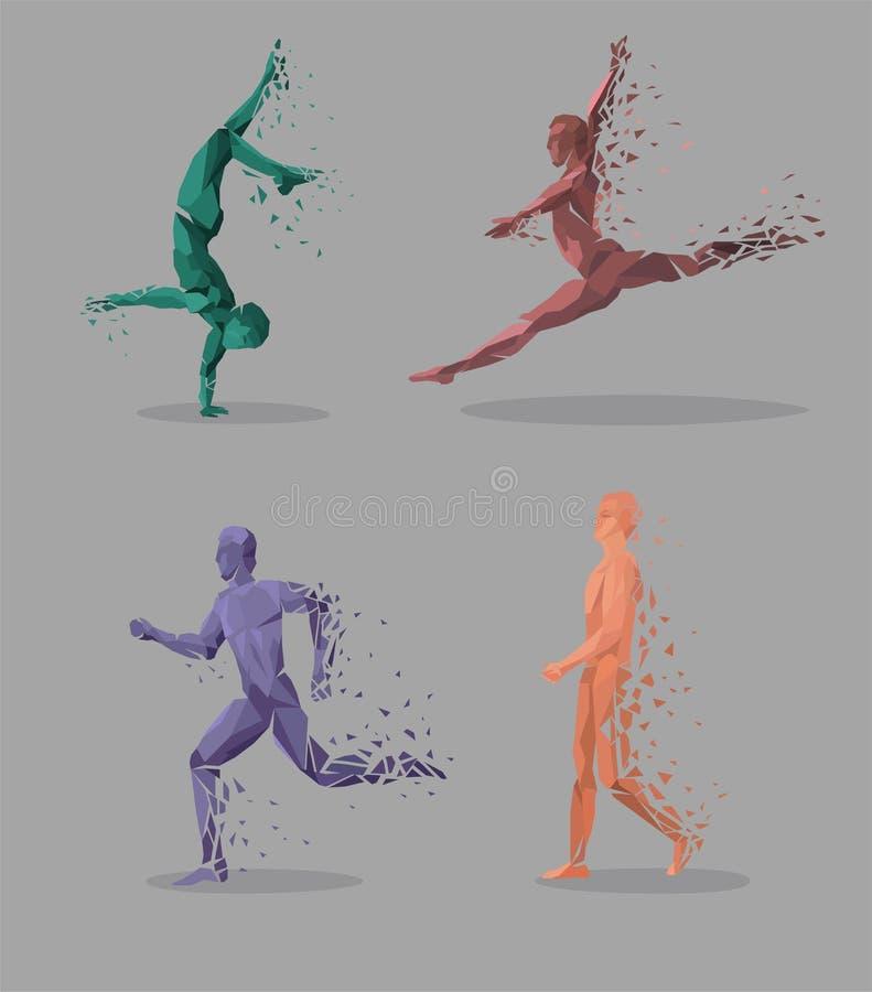 Geometrische de Dansmensen van de Deeltjeslooppas stock illustratie