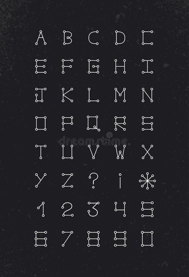 Geometrische de reeks moderne eenvoudige lijn van de alfabetdoopvont royalty-vrije illustratie