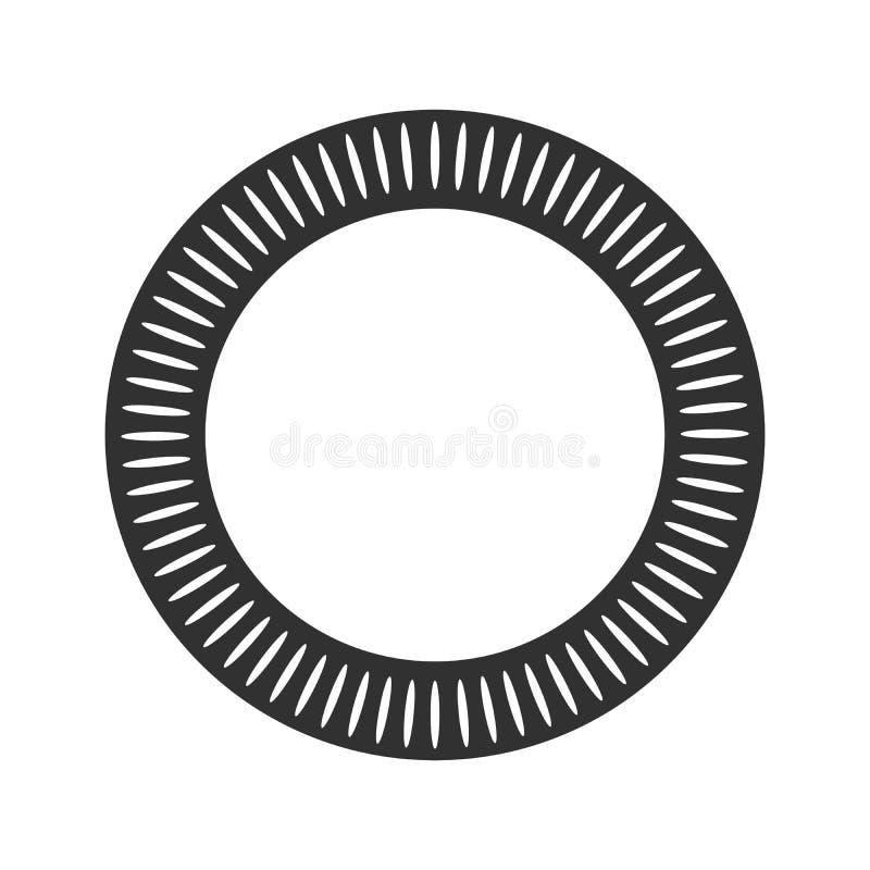Geometrische die zon met stralen in cirkelelement van het uitstralen van vormen wordt gemaakt Abstracte cirkelvorm Vectordieillus stock illustratie
