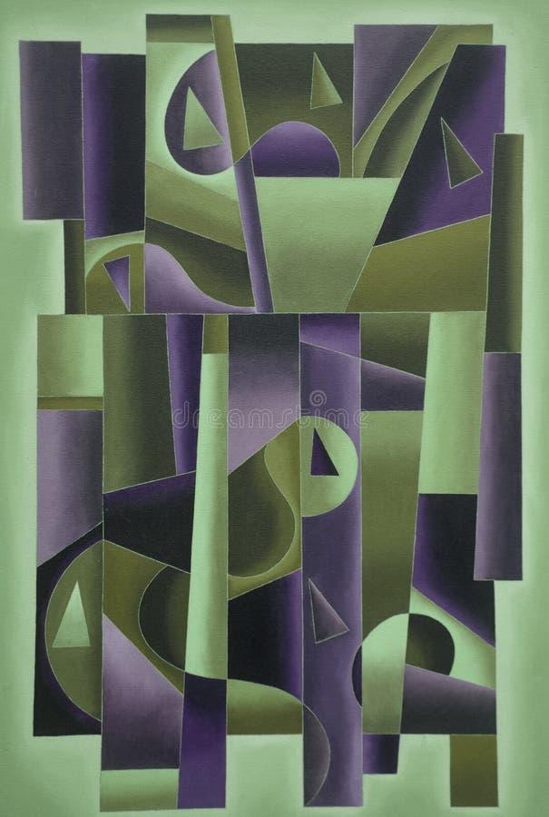 Geometrische Digital-Kunst grün und purpurrot stock abbildung