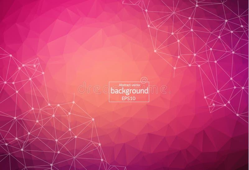 Geometrische Donkere Roze Veelhoekige molecule en mededeling als achtergrond Verbonden lijnen met punten Minimalismachtergrond Co royalty-vrije illustratie
